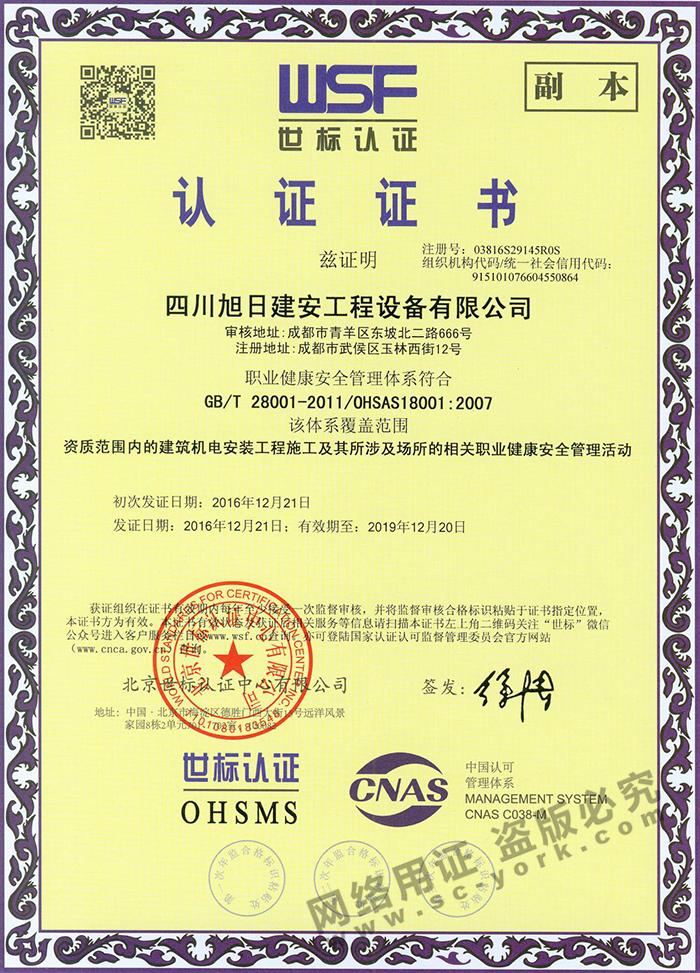 职业健康安全证书